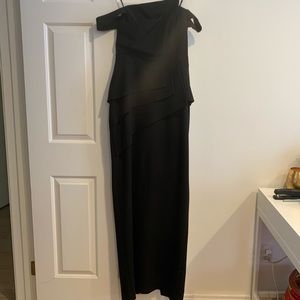 Cold shoulder gown with asymmetrical detailing